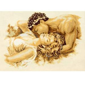 00001. Набор для вышивания крестиком VERVACO Счетный крест Поцелуй 2002-75822 Вервако