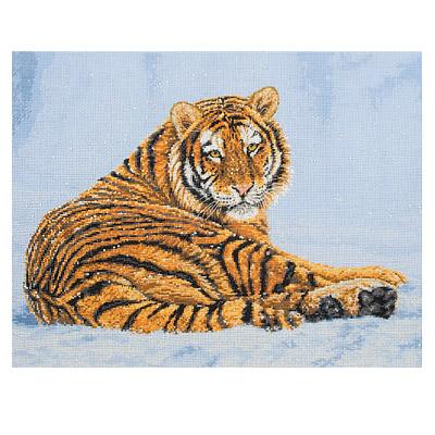 Вышивка крестом тигр на снегу 81