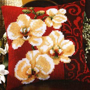 Вышивка крестом подушки орхидея