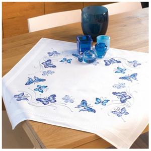 Набор для вышивания скатерть Vervaco PN-0145088 Синие бабочки Вервако