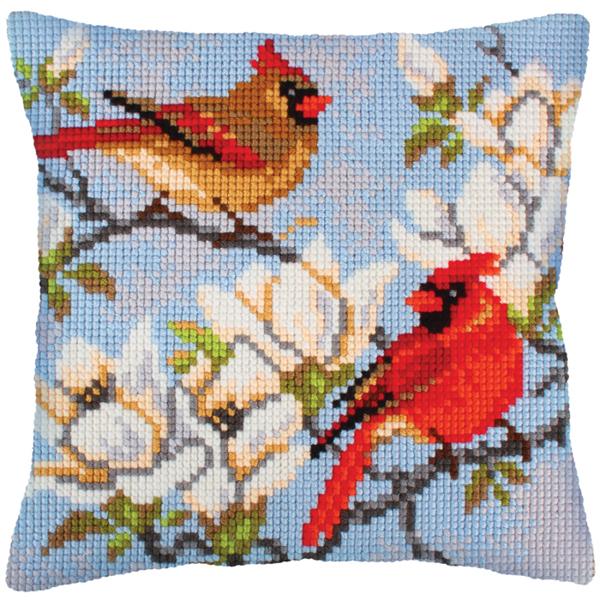 Вышивка крестом подушки с птицами 177