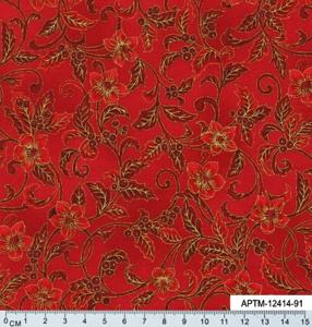 Ткань для пэчворка. Ветки с цветами и ягодами красном фоне