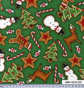 Ткань для пэчворка. Пряники и конфеты на зеленом фоне