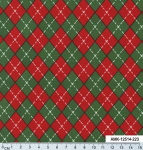 Ткань для пэчворка. Красно-зеленая клетка