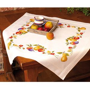 1. Набор для вышивания скатерти <i>вышивка скатертей и подушек</i> Vervaco 2290-90374 Фрукты и цветы
