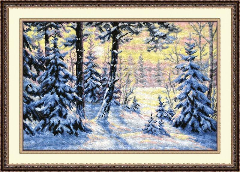 Вышивка крестом зимний пейзаж 90
