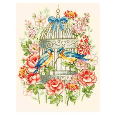 Птица в клетке схема вышивки 2