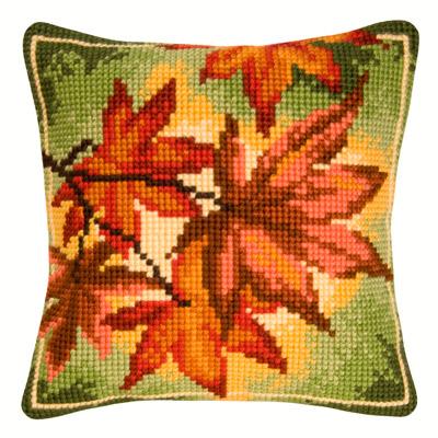 Осенние листья вышивка подушка 18